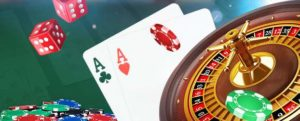 assorted casino games inlcuding blackjack, roulette, and craps