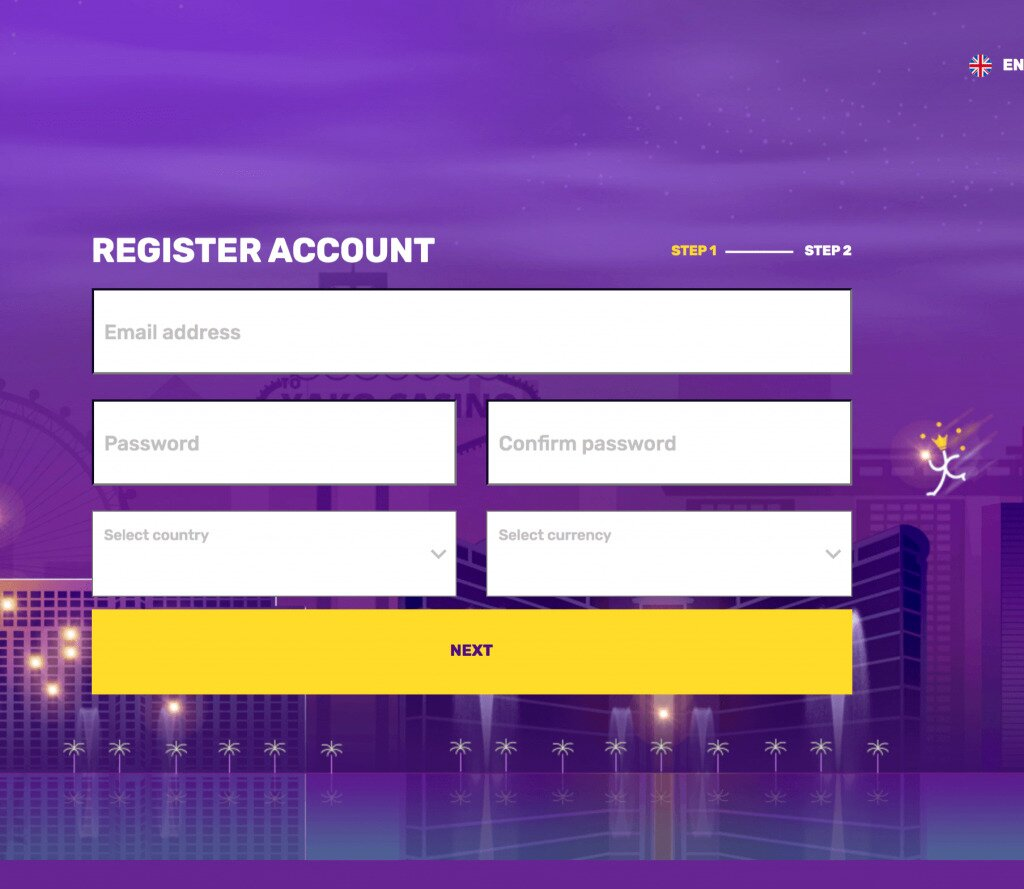 Yako Online Casino Sign-Up Page