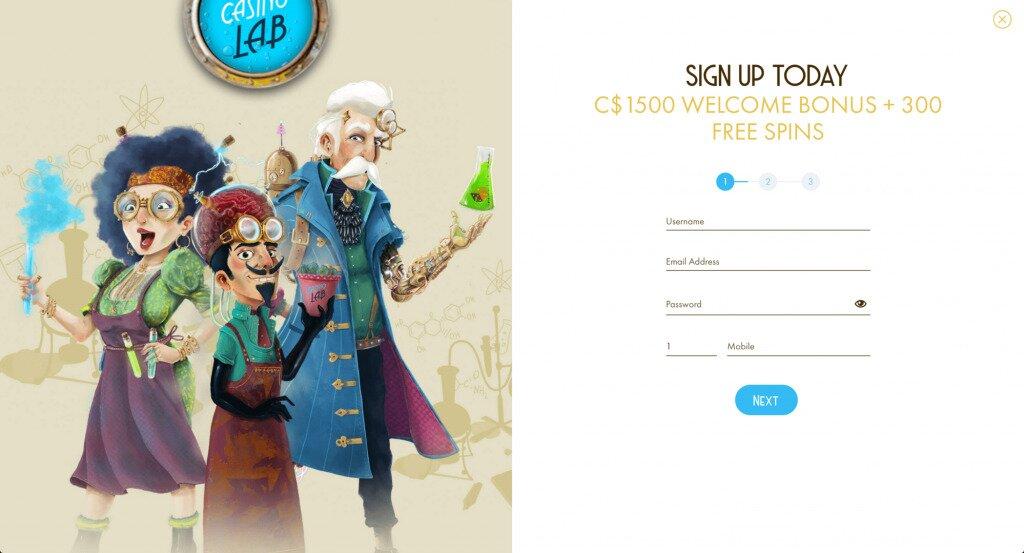 Casino Lab Online Casino Sign Up Image