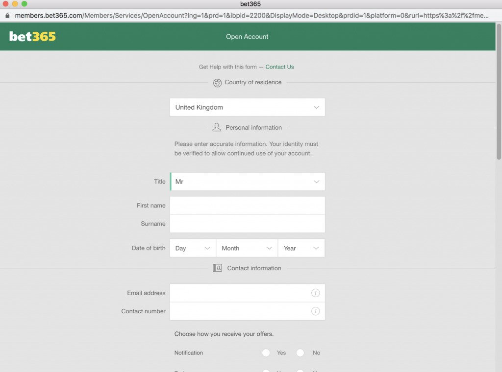 Bet365 Sign Up Image