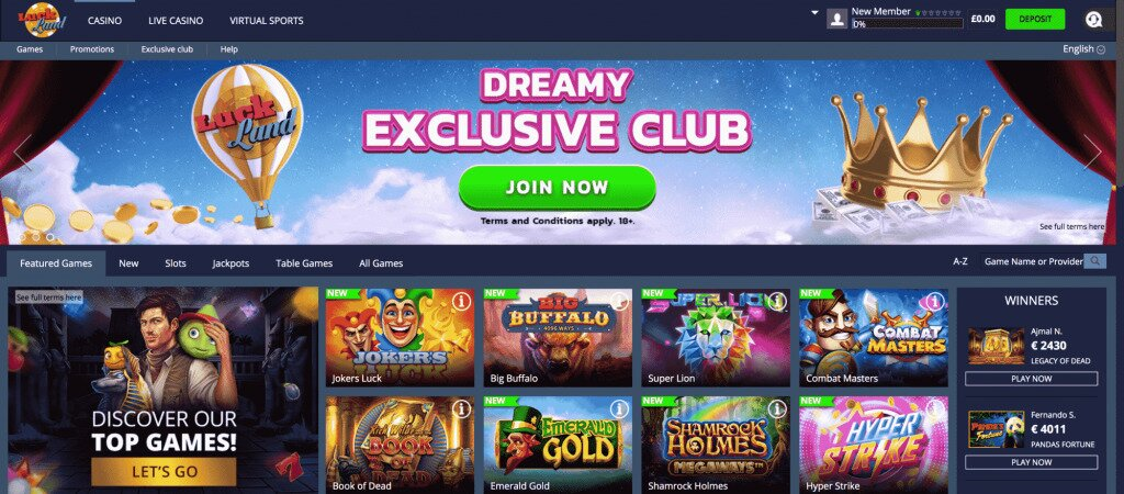 Luckland Casino Home Image